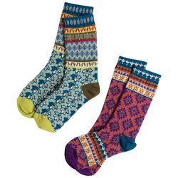 Natural Life Womens 2-pk. Boho Floral Crew Socks