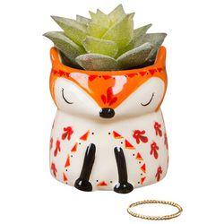 Natural Life Ceramic Fox & Faux Succulent Plant