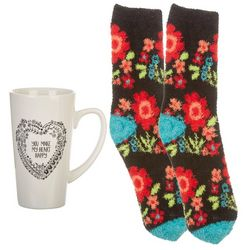 Natural Life Floral Cozy Sock & Mug Set