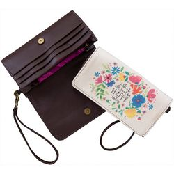 Natural Life Be Happy Today Fold Over Wrislet Wallet
