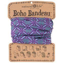 Natural Life Womens Aqua Blue & Purple Print Boho Bandeau