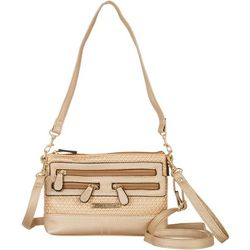 Stone Mountain Metallic Straw Crossbody Handbag