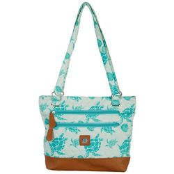 Stone Mountain Seafoam Sea Turtle Quilted Donna Tote
