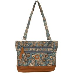 Stone Mountain Grey Paisley Quilted Donna Tote Handbag