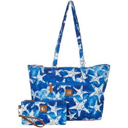 Stone Mountain Quilted Starfish Tote Handbag With Wristlet