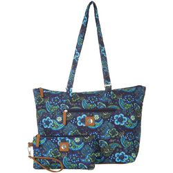 Stone Mountain Navy Blue Paisley Tote Handbag