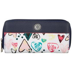 Stone Mountain Ludlow Heart Print Double Zip Wallet