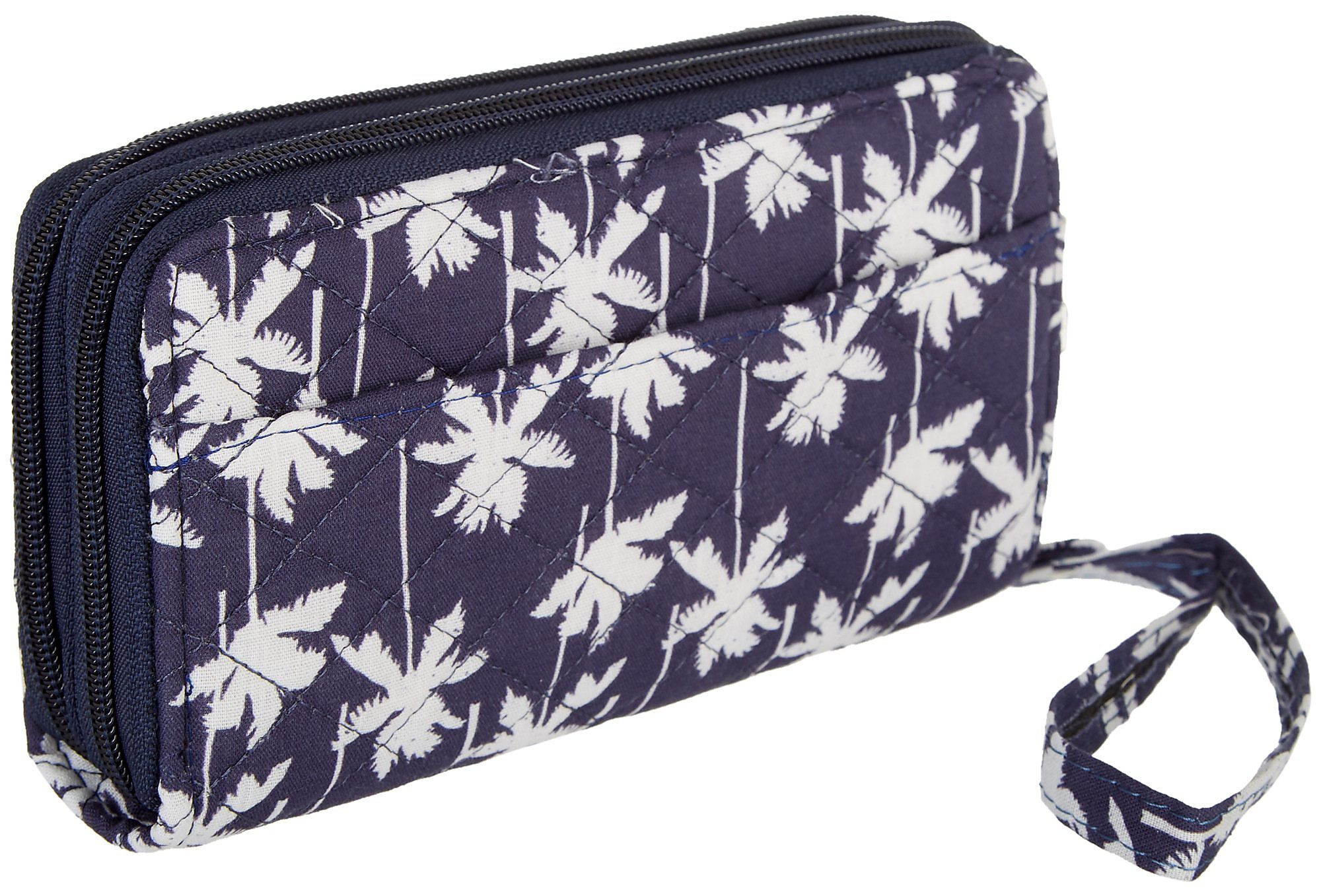 41ff4ac74627 Details about Stone Mountain Palm Tree Double Zip Around Wallet One Size  Navy blue/white