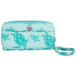 Stone Mountain Seafoam Sea Turtle Double Zip Around Wallet
