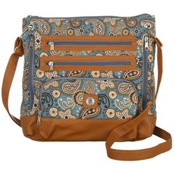 Stone Mountain Grey Paisley Quilted Super Crossbody Handbag