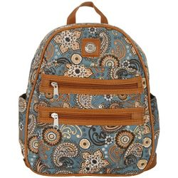 Stone Mountain Grey Paisley Double Zipper Mini Backpack