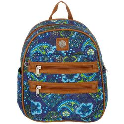 Stone Mountain Navy Blue Paisley Double Zipper Mini Backpack