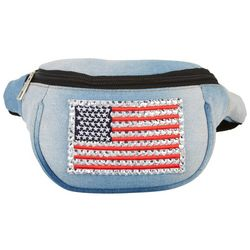 Americana Embellished American Flag Patch Fanny Pack