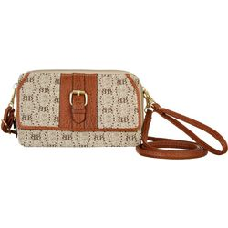 Bueno Straw Front Flap & Logo Multi-Function Handbag