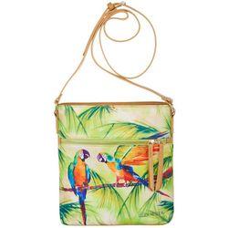 Ellen Negley Tropical Gossips Print Crossbody Handbag
