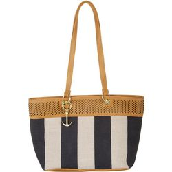 Tackle & Tides Navy Blue Stripe Tote Handbag