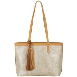 Tackle & Tides Metallic Linen Embossed Tote Handbag
