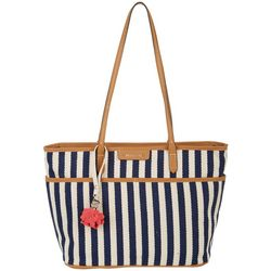 Tessa Herringbone Two Tone  Stripe Tote Handbag