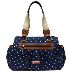 Lily Bloom Landon Navy Blue Polka Dot Satchel Handbag
