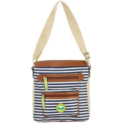 Lily Bloom Navy Blue Stripe Bella Crossbody Handbag