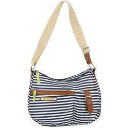 Lily Bloom Navy Blue Stripe Kathryn Hobo Handbag