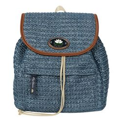 Lily Bloom Solid Raffia Backpack Handbag