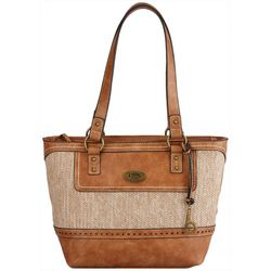 Callahan Straw Panel Tote Handbag