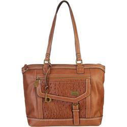 Textured Saddle Double Handle Tote Handbag