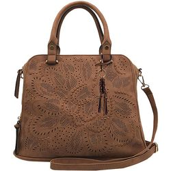 Violet Ray Logan Perforated Dome Satchel Handbag