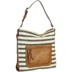 Tinsley Striped Shoulder Tote Handbag