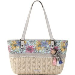 Pastel Flower Garden Ellis Straw Satchel Handbag