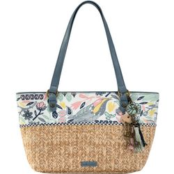 Peace Birds Ellis Straw Satchel Handbag