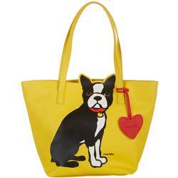 Marc Tetro Boston Terrier Yellow Tote Handbag
