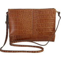Bueno Collection Solid Snakeskin Zip Crossbody Handbag