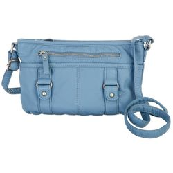 Bueno Washed Grainy Double Buckle Solid Crossbody Handbag