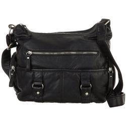 Solid Grainy Double Buckle Satchel Handbag