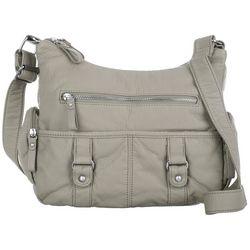 Bueno Solid Grainy Double Buckle Satchel Handbag