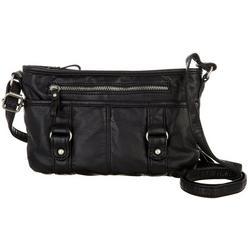 Washed Grainy Double Buckle Solid Crossbody Handbag