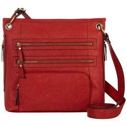 Bueno Veg Tan Multi Zip Crossbody Handbag