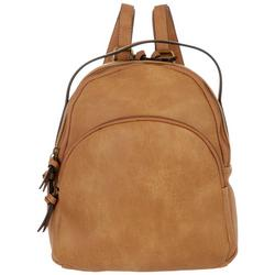 Solid Faux Leather Backpack