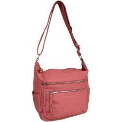 Vintage Washed Solid Double Zip Handbag