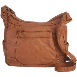Bueno Two-Zip Solid Crossbody Shoulder Handbag