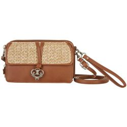 Straw Front Flap & Heart Charm Multi-Function Handbag