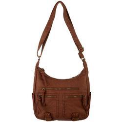 Grainy Wash Zip Compartment Crossbody Handbag