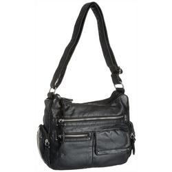 Large Stud Detail Cargo Pocket Solid Crossbody Handbag