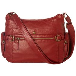Bueno Solid Vintage Wash Double Zip Crossbody Handbag
