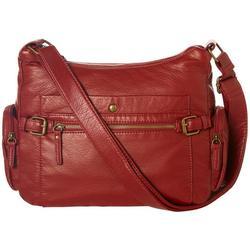 Solid Vintage Wash Double Zip Crossbody Handbag