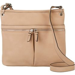 Bueno Double Zipper Front Pockets Crossbody Handbag