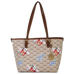Bueno Floral Butterfly Print Double Handle Tote Handbag