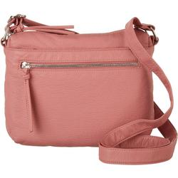 Solid Single Zip Crossbody Handbag